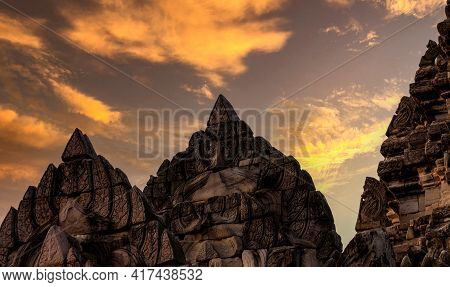 Closeup Phimai Historical Park With Sunset Sky. Landmark Of Nakhon Ratchasima, Thailand. Asia Travel