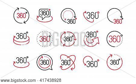 360 Degrees Line Icons. Rotate Arrow, Vr Panoramic Simulation And Augmented Reality. 360 Degrees Vir
