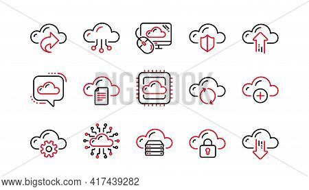 Cloud Data And Technology Icons. Hosting, Computing Data And File Storage. Computer Sync Linear Icon