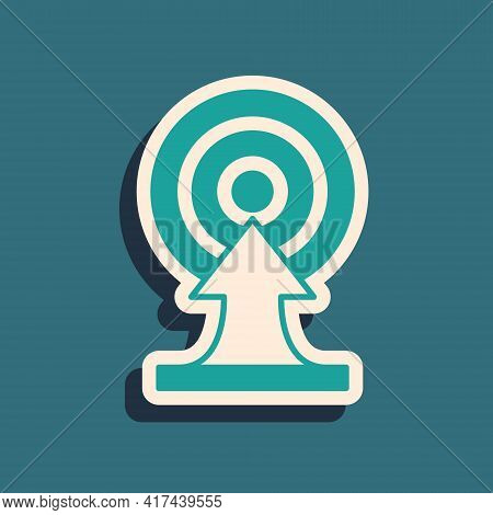 Green Target With Arrow Icon Isolated On Green Background. Dart Board Sign. Archery Board Icon. Dart