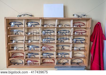 Many Chemistry Working Protection Glasses Shell Rowed Up In A Shool Laboratory