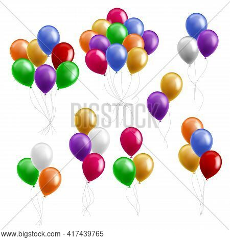 Bunches Balloon. Color Round Flying Balloons Party Decoration, Groups Of Glossy Rubber 3d Inflated I