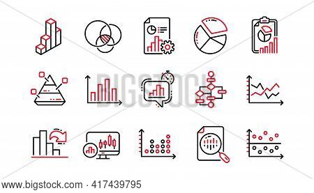 Charts And Graphs Line Icons. Infochart, Block Diagram And Algorithm. Presentation Linear Icon Set L