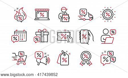 Discounts Line Icons. Sale Coupon, Online Shopping Sign, Discount Price Tag. Wholesale Store Market,