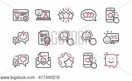 Feedback Line Icons. User Opinion, Customer Service And Star Rating. Customer Satisfaction Linear Ic