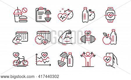Fitness Time Line Icons. Strong Muscle Arm, Bike Workout, Gym Fit Dumbbell. Training Analysis, Worko