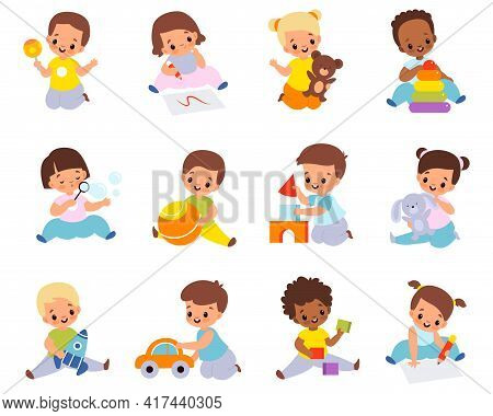 Babies Playing With Toys. Multiethnic Kids Hold Different Items, Little Boys And Girls Sitting On Fl