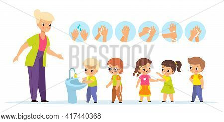 Washing Hands Teach. Children Characters With Kindergarten Teacher, Proper Arms Wash Schemes, Kids E