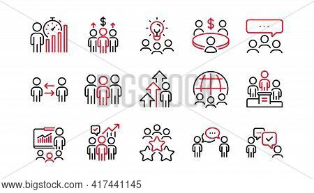 Meeting Line Icons Set. Conference, Seminar Discussion, Classroom. Team, Work And Business Idea Icon