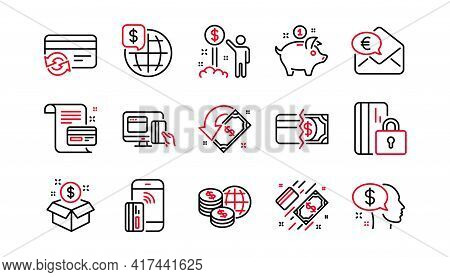 Money Payment Line Icons. Bank Transfer, Piggy Bank And Credit Card. Cash Linear Icon Set. Linear Se