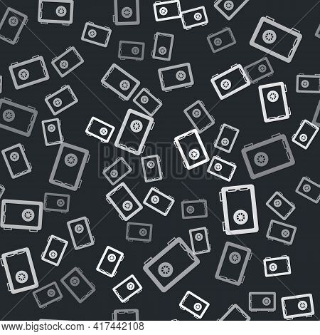 Grey Safe Icon Isolated Seamless Pattern On Black Background. The Door Safe A Bank Vault With A Comb