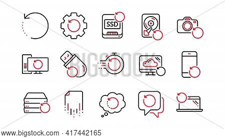 Recovery Line Icons. Backup, Restore Data And Recover File. Laptop Renew, Drive Repair And Phone Rec