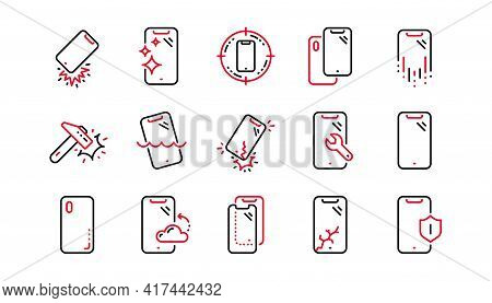 Smartphone Protection Line Icons. Tempered Glass, Screen Protector And Water Resistant. Phone Cover,