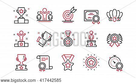 Success Line Icons Set. Goal Target, Certificate, Winner Cup. Reward, Medal With Ribbon, Crown Icons