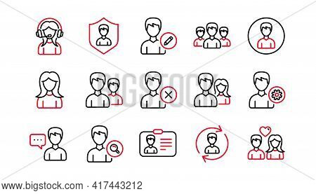 User Person Line Icons. Profile, Group And Support. People Linear Icon Set. Linear Set. Quality Line