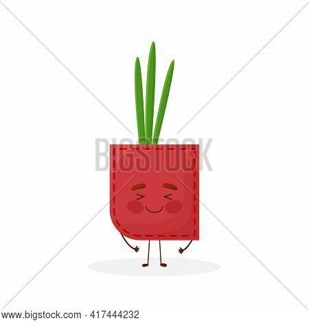 Onion Shaped Patch Pocket. Character Pocket Onion. Cartoon Style. Isolated On White Background. Desi