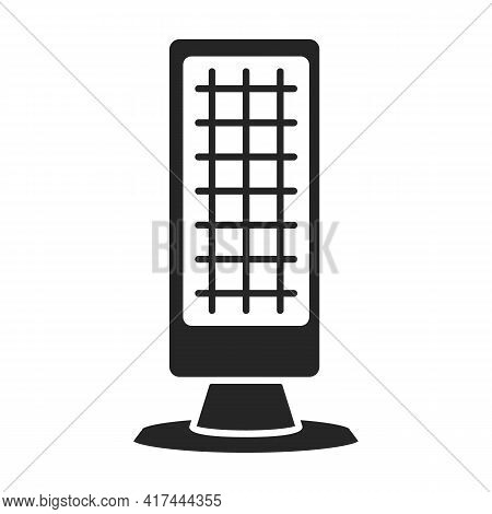 Heater Electric Vector Black Icon. Vector Illustration Heater Electric On White Background. Isolated