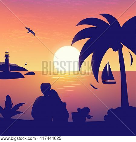 Nature Sea Romantic Illustration Of Sunset Or Sunrise In The Sea With Beloved Couple Silhouette, Shi