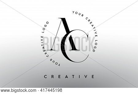 Ac Letter Logo Design With Serif Typography Font And Elegant Modern Look In Black And White Colors V