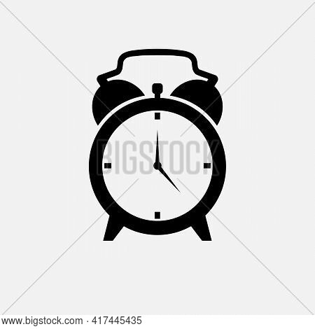 Simple Flat Illustration Of A Clock, Alarm Clock On A White Background. Alarm Clock Icon Vector, Wak