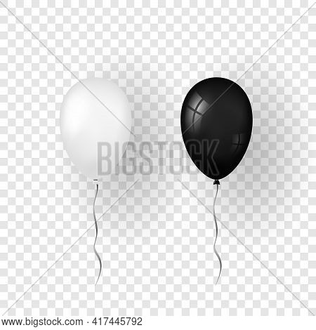 Balloon 3d Icon Set, Isolated White Transparent Background. Baloon Mockup Halloween Party Celebratio
