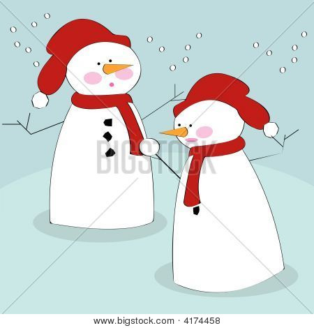 Snowmen In The Snow