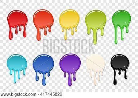 Drip Paint Spot 3d Set Isolated White Transparent Background. Rainbow Blob Ink Splash. Splatter Stai