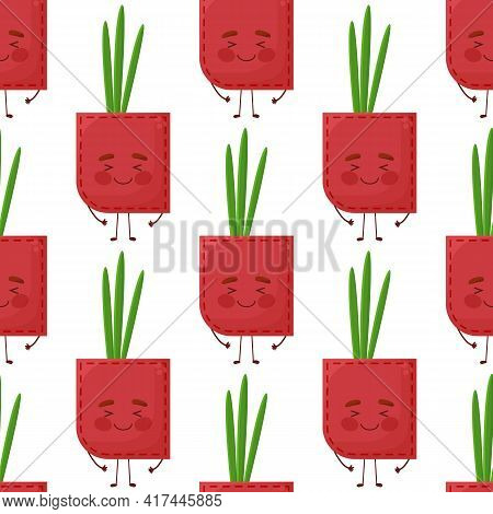 Seamless Pattern Onion Shaped Patch Pocket. Character Pocket Onion. Cartoon Style. Design Element.
