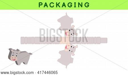 Party Favor Box Die Cut Hippo Design For Sweets, Candies, Small Presents, Bakery. Package Template,