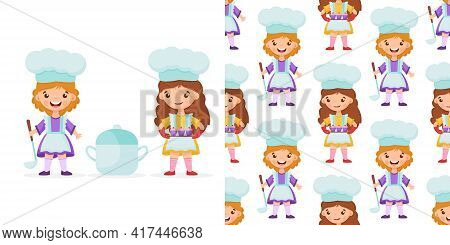 Seamless Pattern Girl Chef With Ladle, Saucepan And Cute Little Girl Chef Holds A Cupcakes On The Tr