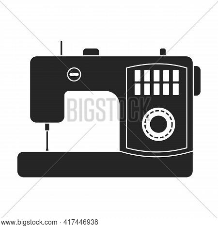 Machine Sewing Vector Black Icon. Vector Illustration Vintage Sew On White Background. Isolated Blac