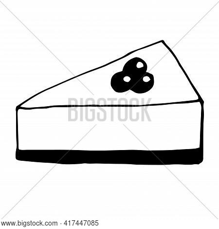 Cheesecake With Blueberries Vector Illustration Doodle Hand Drawn
