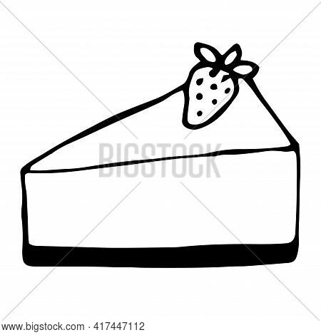Cheesecake With Strawberry Vector Illustration Doodle Hand Drawn