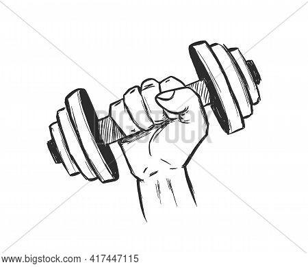 Vector Illustration: Hand Drawn Dumbbell Fist. Sketch Design. Gym Emlem