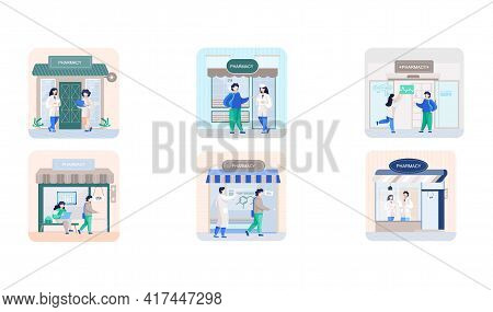 Facade Pharmacy Store With Signboard, Awning And Symbol In Shop Window. Scenes Set With Apothecary