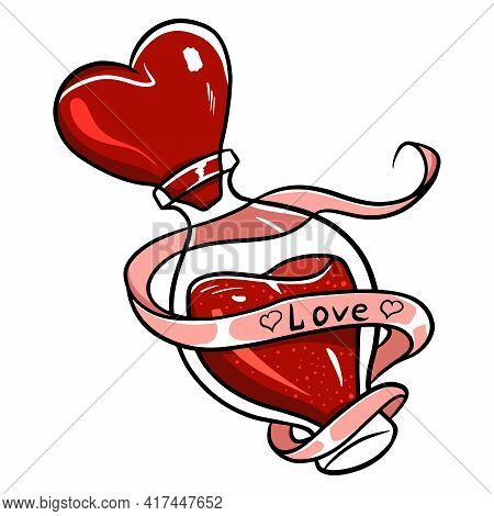 Love Potion. Vector Love Potion. A Drink That Makes You Fall In Love With Yourself. Valentine's Day