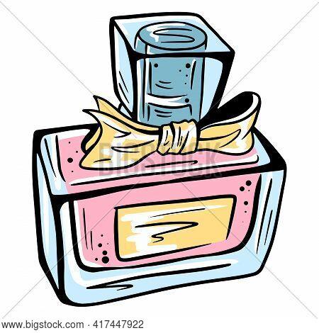 Perfume. Perfume For Women. Nice Smell. Women's Cosmetics. Perfume Bottle. Cartoon Style.