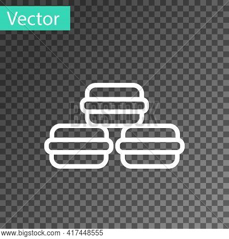 White Line Macaron Cookie Icon Isolated On Transparent Background. Macaroon Sweet Bakery. Vector