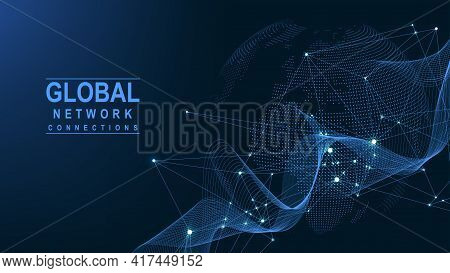Business Global Network Connection. World Map Point And Line Composition Concept Of Global Business.