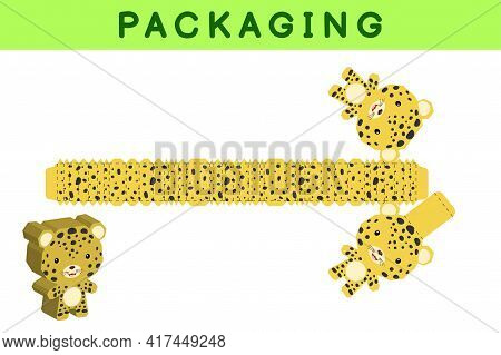 Party Favor Box Die Cut Leopard Design For Sweets, Candies, Small Presents, Bakery. Package Template