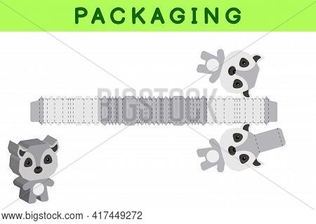 Party Favor Box Die Cut Lemur Design For Sweets, Candies, Small Presents, Bakery. Package Template,