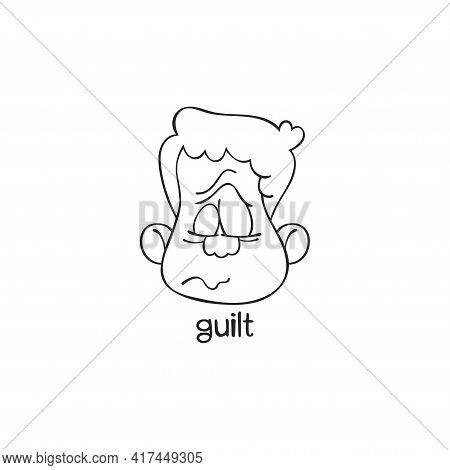 Guilt. Emotion. Human Face. Cartoon Character. Isolated Vector Object On White Background.