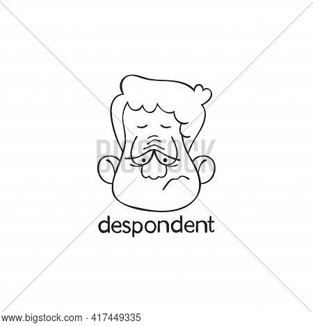 Despondent. Emotion. Human Face. Cartoon Character. Isolated Vector Object On White Background.
