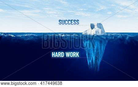 Hard Work Is Hidden Behind Every Success. Motivational Concept With Iceberg To Work Hard And Success