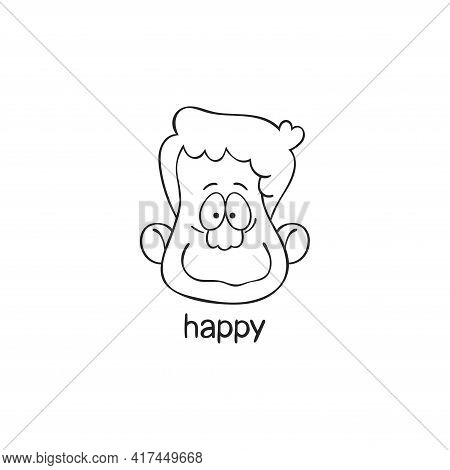 Happy. Emotion. Human Face. Cartoon Character. Isolated Vector Object On White Background.