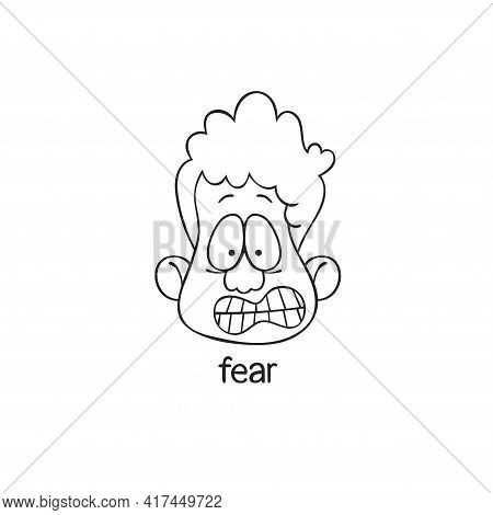 Fear. Emotion. Human Face. Cartoon Character. Isolated Vector Object On White Background.