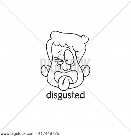 Disgusted. Emotion. Human Face. Cartoon Character. Isolated Vector Object On White Background.