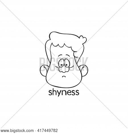 Shyness. Emotion. Human Face. Cartoon Character. Isolated Vector Object On White Background.