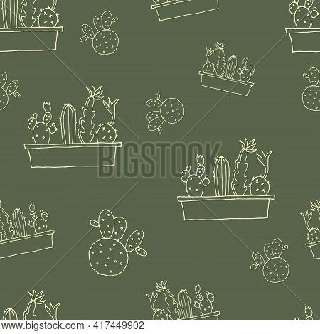 Seamless Background. Decorative Cacti. Cactus In A Pot. Vector Illustration. Khaki. Swamp Color. Pat
