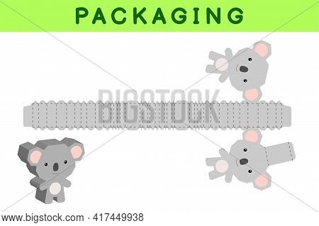 Party Favor Box Die Cut Koala Design For Sweets, Candies, Small Presents, Bakery. Package Template,